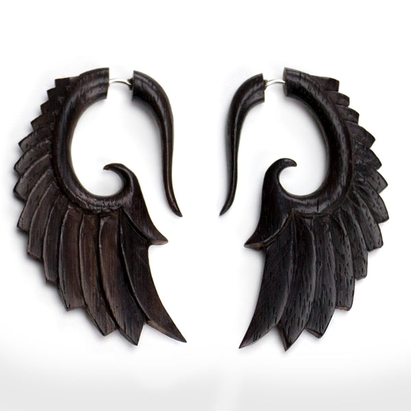 Angel Wing Spiral Fake Gauge Sono Wood Earrings