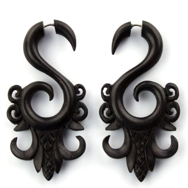 Areng Wooden Ornate Fake Gauges Earrings
