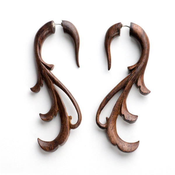 Blossomy Fake Gauge Wood Earrings