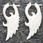 White Bone Tribal Wing Post Earrings