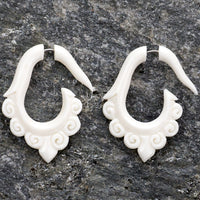 Tribal Shanti Hoop Fake Gauges Bone Earrings