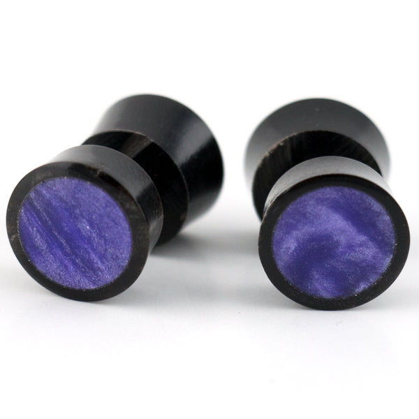 Black Horn Fake Gauges Plugs With Purple Resin Inlay