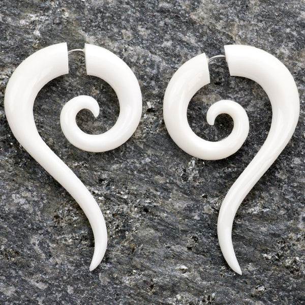 Sierra Spirals Organic Fake Gauge Bone Earrings