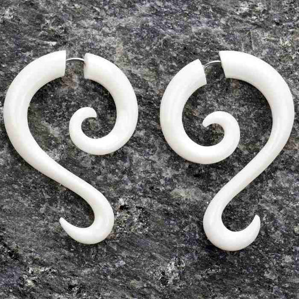 Bone Tail Spirals Fake Gauges Earrings