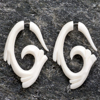 Tribal Wave Spiral Wings Fake Gauges Bone Earrings