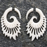 Calamus Spiral Organic Fake Gauges Bone Earrings