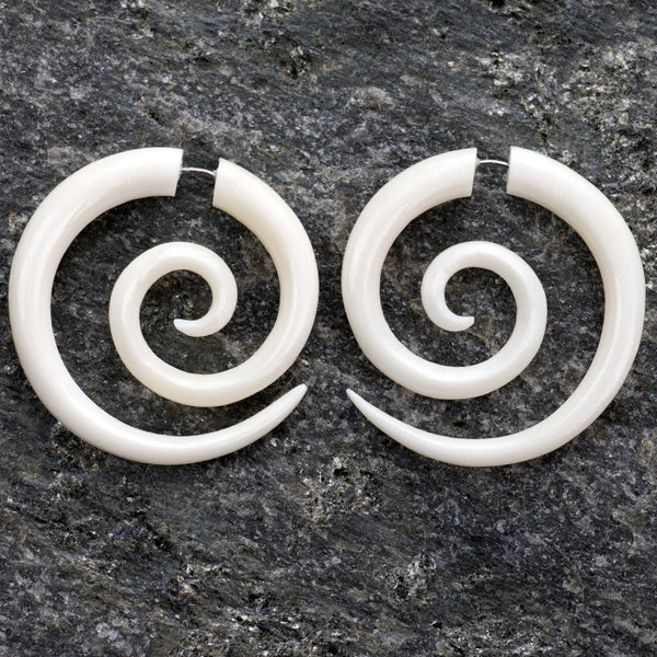 Large Spiral Fake Gauges Bone Earrings
