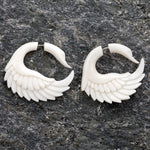 Bone Swan Sankofa Wings Organic Fake Gauges Earrings