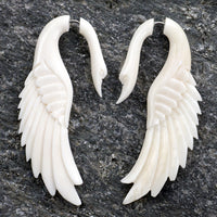 Swan Angel Wing Spiral Fake Gauges Bone Earrings