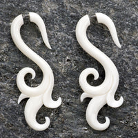 Tribal Swell Fake Gauges Bone Earrings