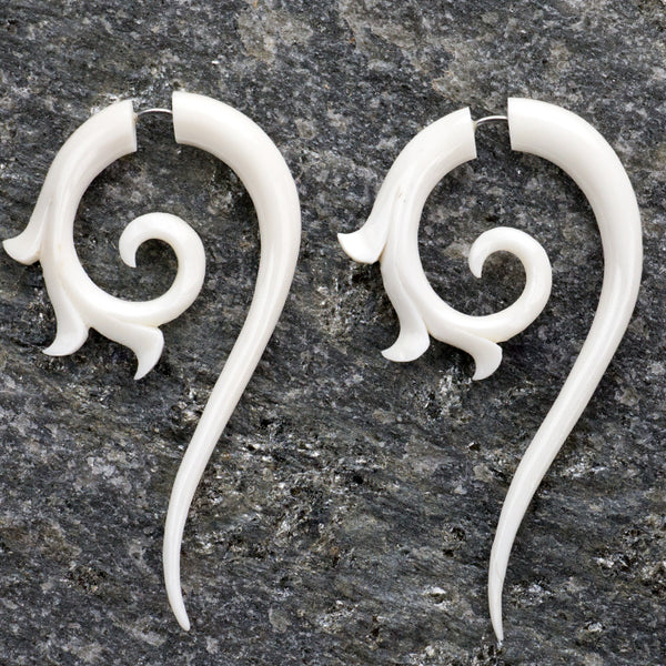 Tribal Floral Spiral Fake Gauges Bone Bone Earrings