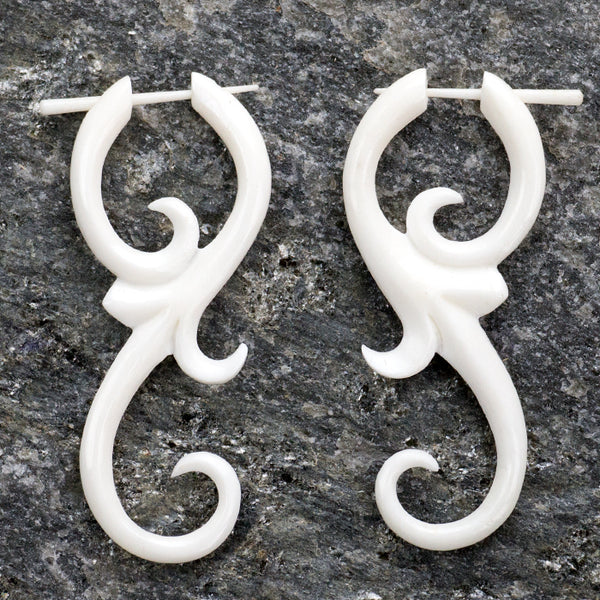 White Bone Divine Spiral Post Earrings