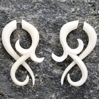 Large Floral Twist Fake Gauges Bone Earrings