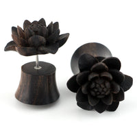 Carved Daisy Flower Sono Wood Fake Gauges Plugs