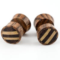 Zebra Wood Fake Gauges Plugs With Stripe Wood Inlay