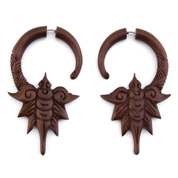 Dragonfly Spiral Saba Wood Fake Gauges Earrings