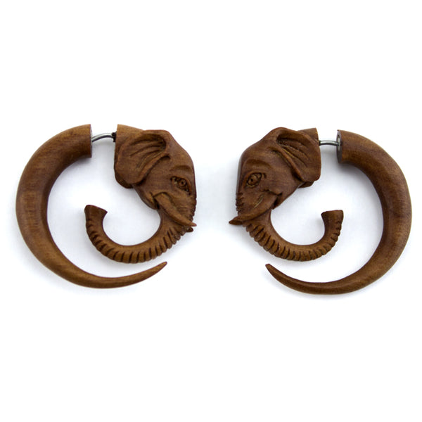 Elephant Spiral Saba Wood Fake Gauges Earrings