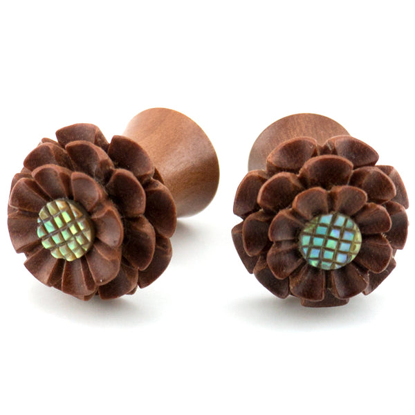 Marigold Flower With Abalone Inlay Wood Fake Gauges Plugs
