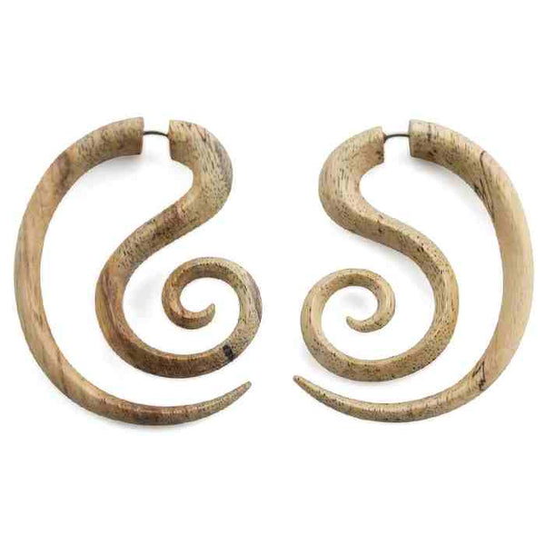 Helical Tamarind Wood Fake Gauge Earrings