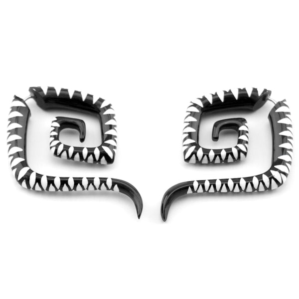 Zig Zag Square Spiral Fake Gauges Horn Earrings
