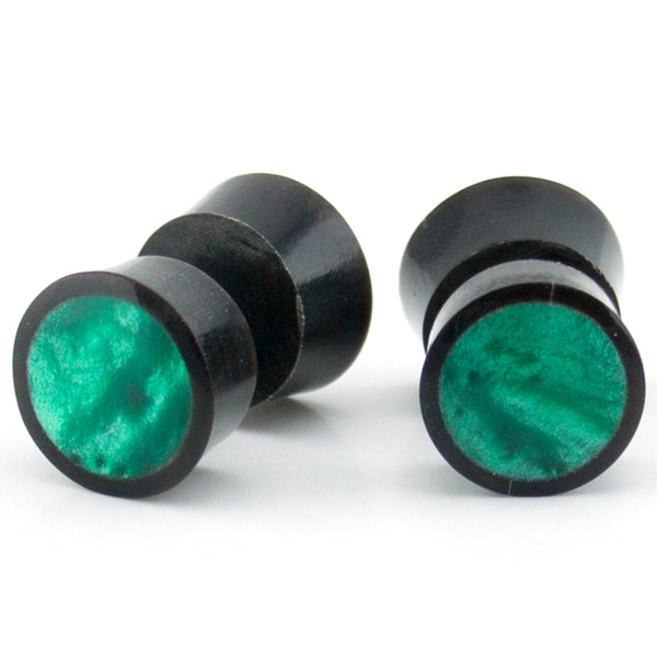 Black Horn Fake Gauges Plugs With Green Resin Inlay