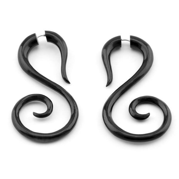 Black Salander Spiral Fake Gauges Horn Earrings