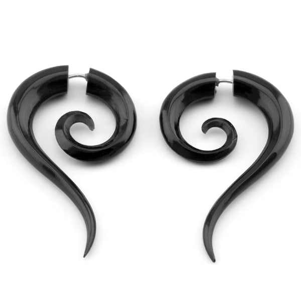 Black Sierra Spirals Fake Gauge Horn Earrings