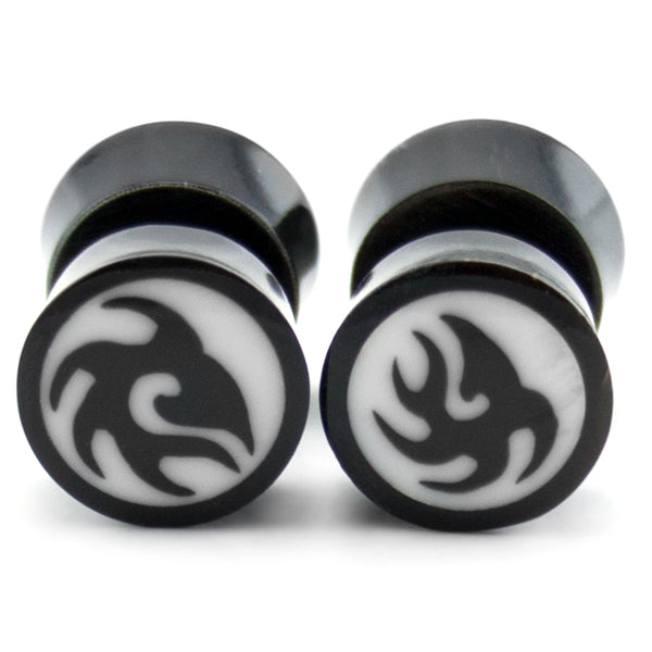 Black Horn Tribal Inlay Fake Plugs / Gauges