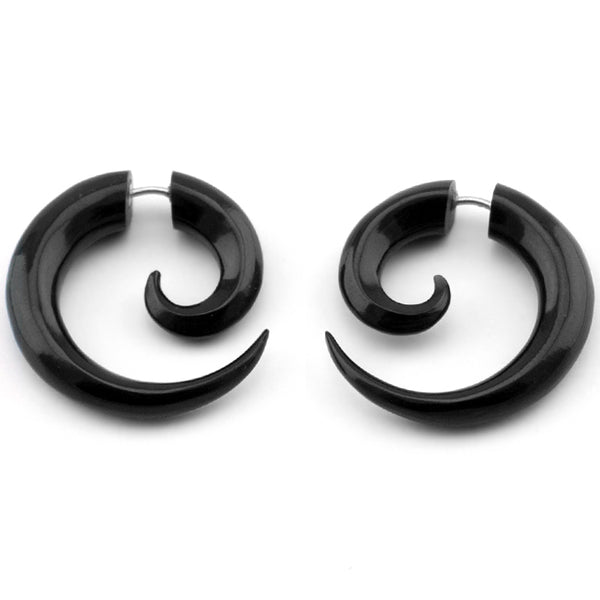 Black Spiral Fake Gauges Horn Earrings