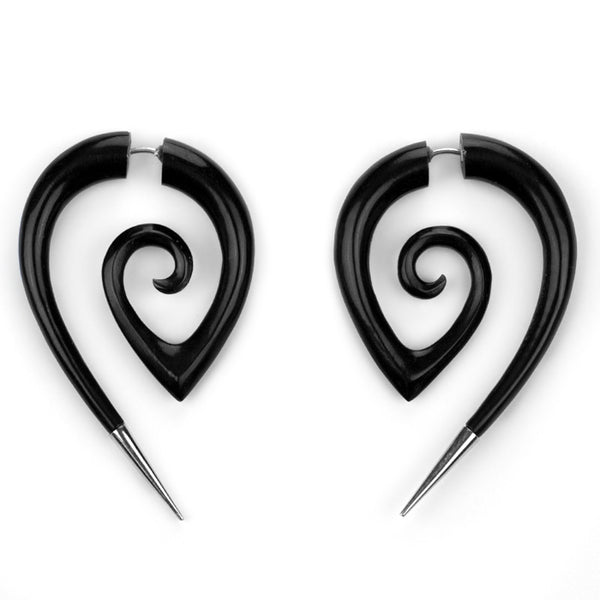 Dragon Tattoo Black Horn Fake Gauge Spirals With Silver Tips
