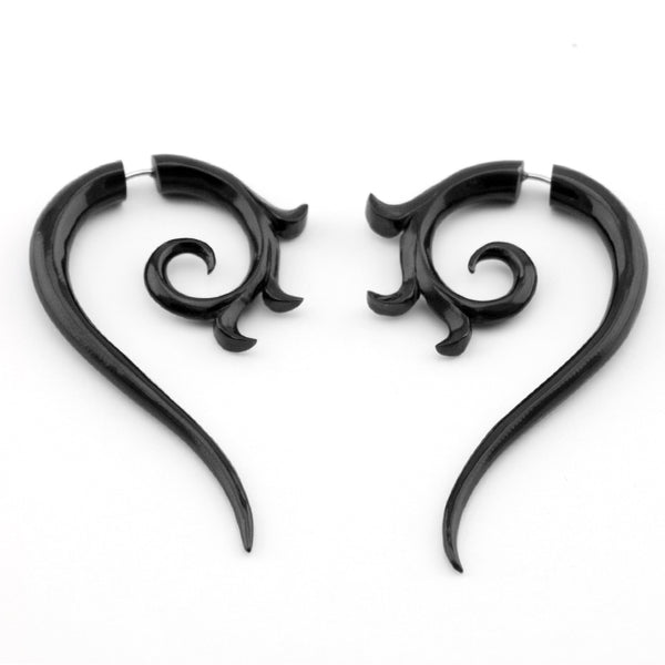 Black Tribal Floral Spiral Fake Gauges Horn Earrings