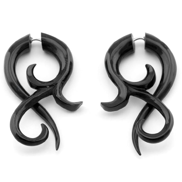 Small Black Floral Twist Fake Gauges Horn Earrings