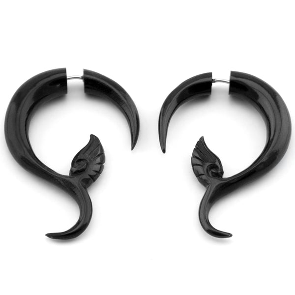 Black Sprout Flower Fake Gauges Horn Earrings