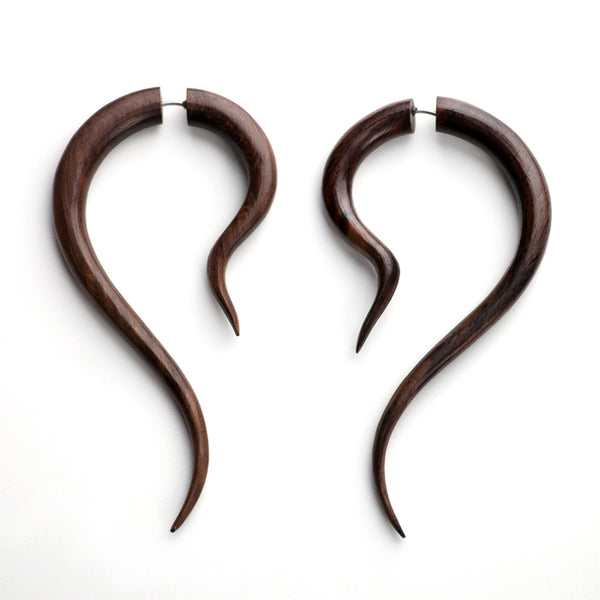 Karok Spiral Fake Gauges Wood Earrings