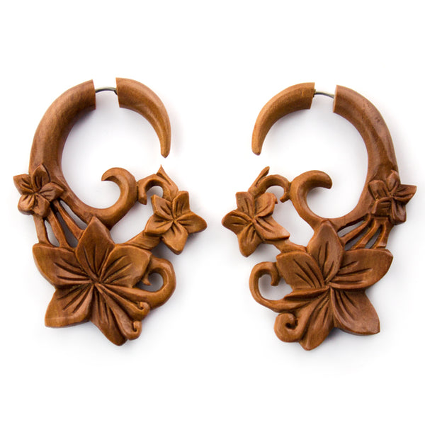 Kula Flower Saba Wood Fake Gauges Earrings