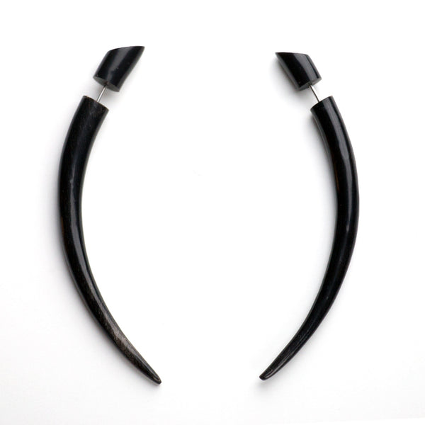 Medium Black Taper Fake Gauges Horn Earrings