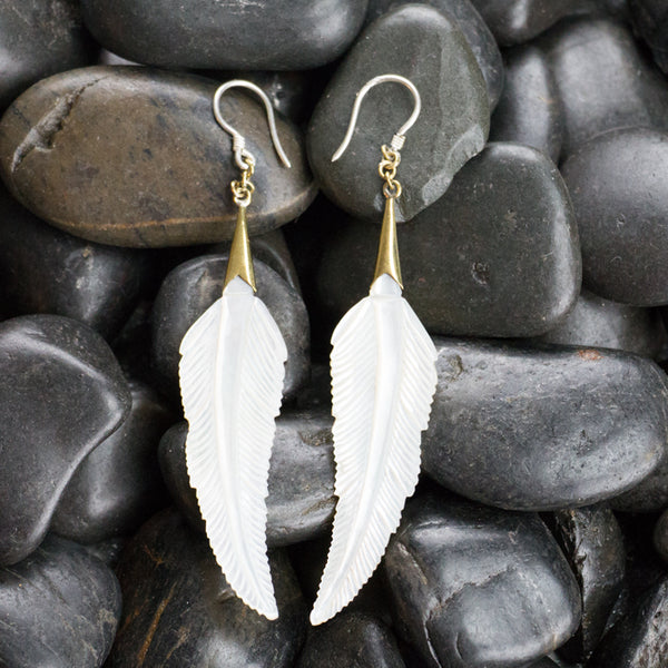 Pointed Feather Mother Of Pearl Earrings