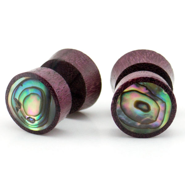Purple Heart Fake Gauges Plugs With Abalone Shell Inlay