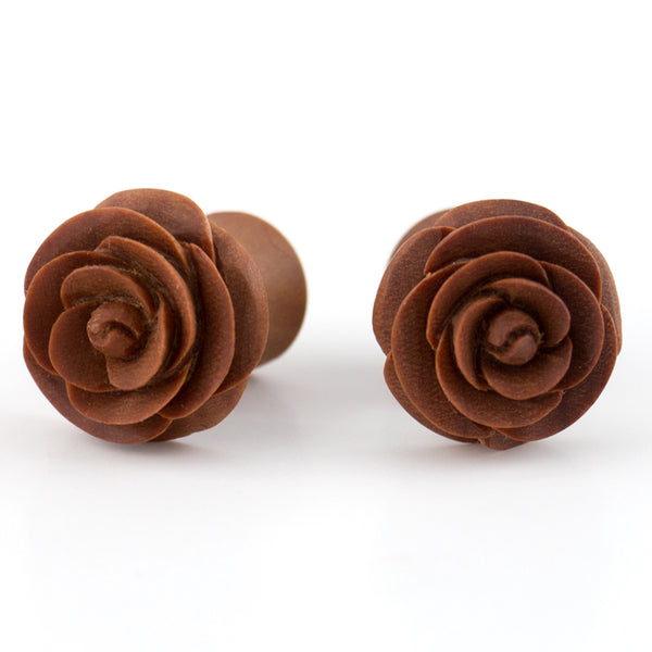 Carved Rosebud Saba Wooden Fake Gauges Plugs