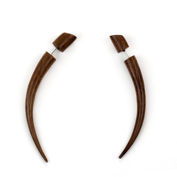 Sono Wooden Talon Taper Fake Gauges Earrings