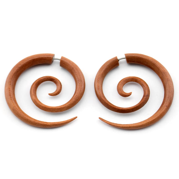 Saba Wooden Large Spiral Fake Gauges