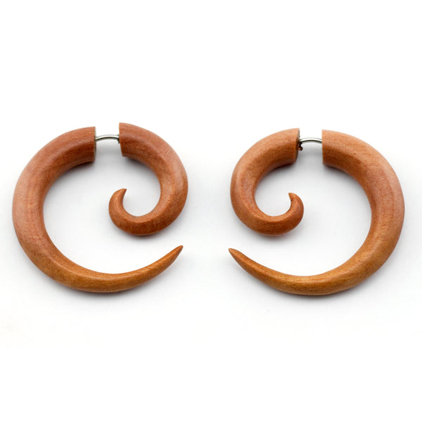 Saba Wooden Medium Spiral Fake Gauges