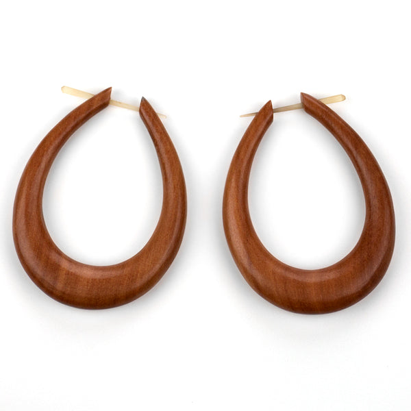 Large Oval Hoops Saba Wood Post Earrings