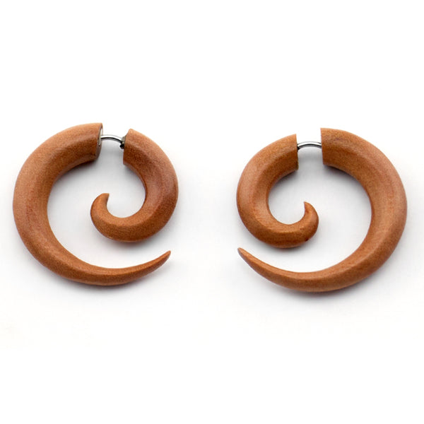 Saba Wooden Small Spiral Fake Gauges