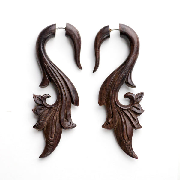 Savanna Curl Fake Gauges Wood Earrings