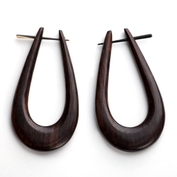Slim Hoop Wood Fake Gauges Post Earrings