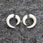 Small Bone Spiral Fake Gauges Earrings