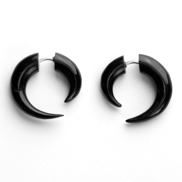Small Black Hooks Spiral Fake Gauges Horn Earrings