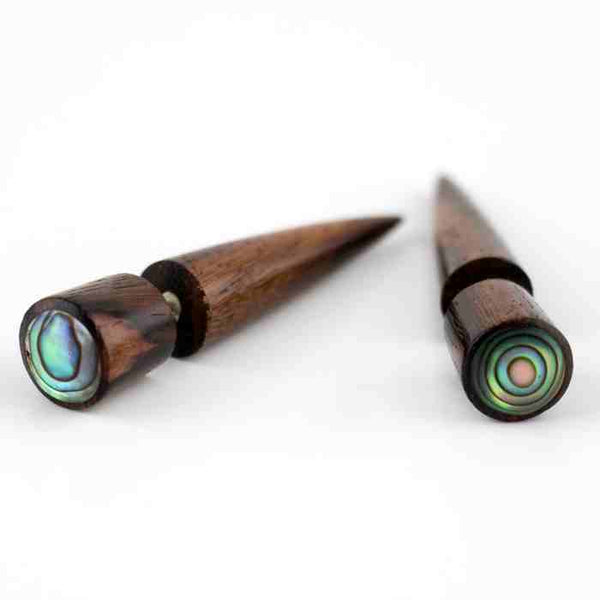 Sono Wood Fake Gauges Taper With Abalone Shell Inlay Earrings