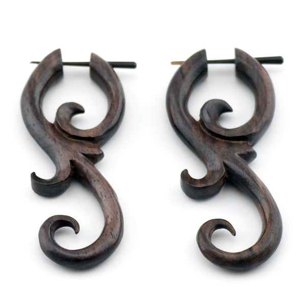 Sono Wooden Divine Spiral Post Earrings